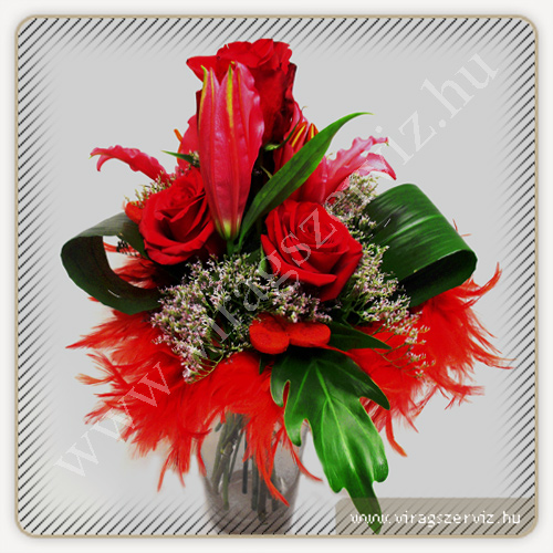 Valentine's Day  Rose-Lily Bouqet with Feathers