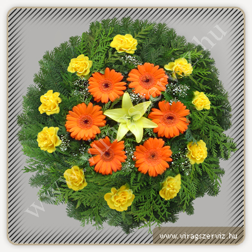 Funeral wreath - Yellow and Orange Gerbera, Lily and Roses