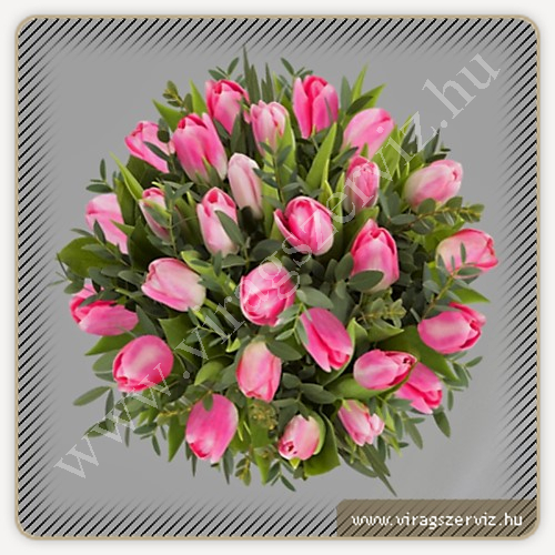 Pink Tulip Bouqet with eucalyptus