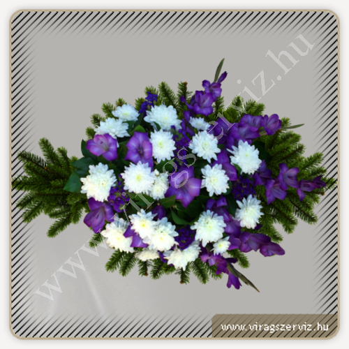 Funeral bouqet - White and purple mixed flowers