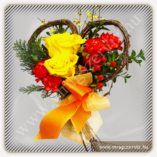 Heart with Yellow Rose and Hypericum