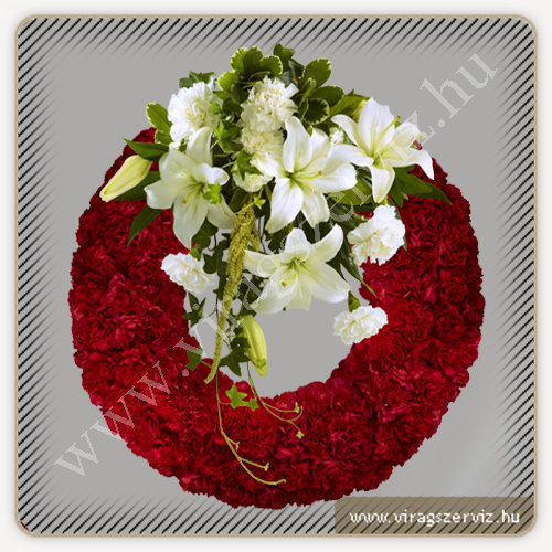 Funeral Arrangement - Red Carnation Wreath with White Lilies and Carnations